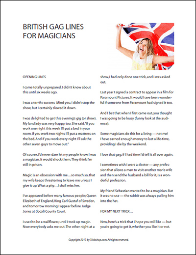 British Gag Lines for Magicians